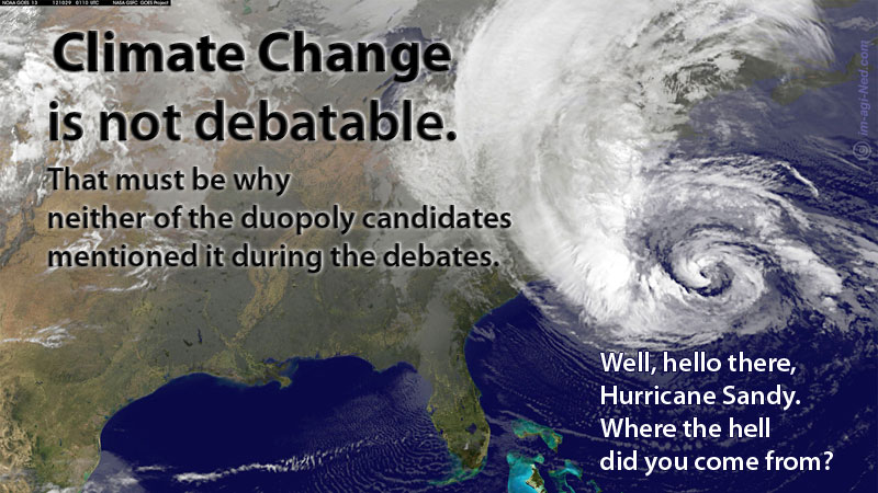 Climate change is not debatable. Hello Hurricane Sandy.